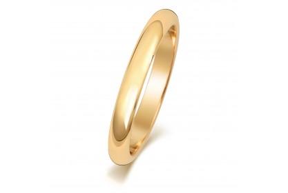 18ct Yellow Gold D Shape 2.5mm Medium Weight Band
